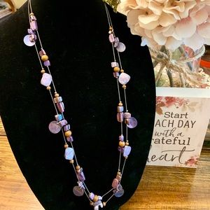 Pretty Purple & Brown Bead Double Strand Necklace